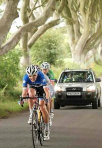 Picture by Cycling Ulster. Matthew drives the early break.